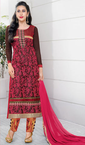 The Karishma Kapoor Collection:atisundar delightful Brown And Pink Embroidered Chain Stitch Lakhnavi Work Straight Cut Suit In Net And Faux Georgette With Printed Bottom - 10046 - atisundar - 1 - click to zoom