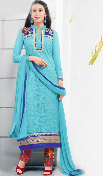 The Karishma Kapoor Collection:atisundar classy Sky Blue Embroidered Chain Stitch Lakhnavi Work Straight Cut Suit In Net And Faux Georgette With Printed Bottom - 10047 - atisundar - 1 - click to zoom