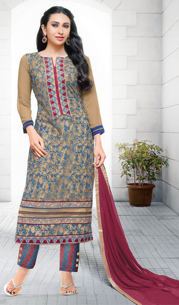 The Karishma Kapoor Collection:atisundar exquisite Beige And Blue Embroidered Chain Stitch Lakhnavi Work Straight Cut Suit In Net And Faux Georgette With Printed Bottom - 10048 - atisundar - 1 - click to zoom