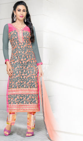 The Karishma Kapoor Collection:atisundar stunning Grey And Peach Embroidered Chain Stitch Lakhnavi Work Straight Cut Suit In Net And Faux Georgette With Printed Bottom - 10049 - atisundar - 1 - click to zoom