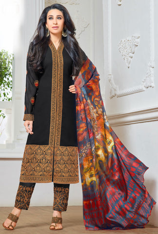 The Karishma Kapoor Collection:atisundar wonderful Black Designer Embroidered Straight Cut Suit In Faux Georgette Featuring Karishma Kapoor  - 10152 - atisundar - 1 - click to zoom