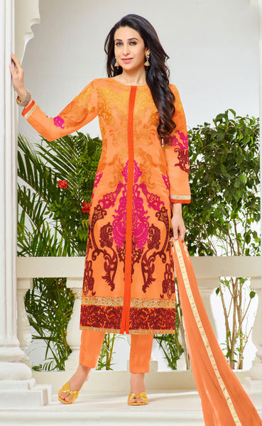 The Karishma Kapoor Collection:atisundar stunning Orange Designer Embroidered Straight Cut Suit In Faux Georgette Featuring Karishma Kapoor  - 10156 - atisundar - 1 - click to zoom