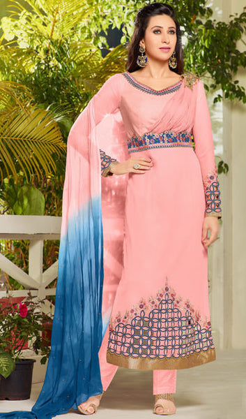 The Karishma Kapoor Collection:atisundar enticing Light Pink Designer Embroidered Straight Cut Suits In Faux Georgette - 9838 - atisundar - 1 - click to zoom