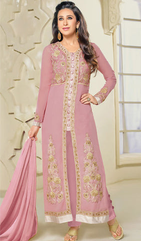 The Karishma Kapoor Collection:atisundar Lovely Pink Designer Embroidered Straight Cut Suits In Faux Georgette - 9840 - atisundar - 1 - click to zoom