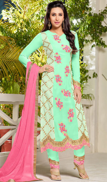 The Karishma Kapoor Collection:atisundar appealing Sea Green Designer Embroidered Straight Cut Suits In Faux Georgette - 9842 - atisundar - 1 - click to zoom