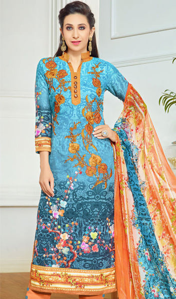 The Karishma Kapoor Collection:atisundar appealing Sky Blue Designer Straight Cut  - 9969 - atisundar - 1 - click to zoom