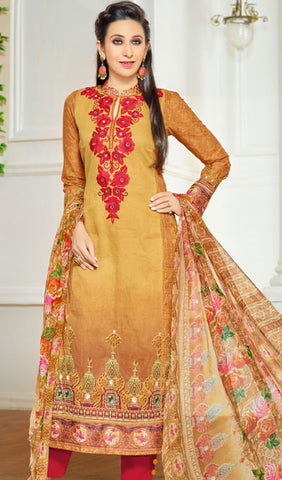 The Karishma Kapoor Collection:atisundar Alluring Red And Beige Designer Straight Cut  - 9970 - atisundar - 1 - click to zoom