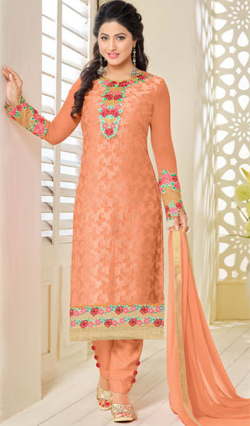 The Heena Khan Collection:atisundar superb Orange Embroidered Straight Cut Suit In Faux Georgette with Embroidered Sleeves - 10055 - atisundar - 1 - click to zoom