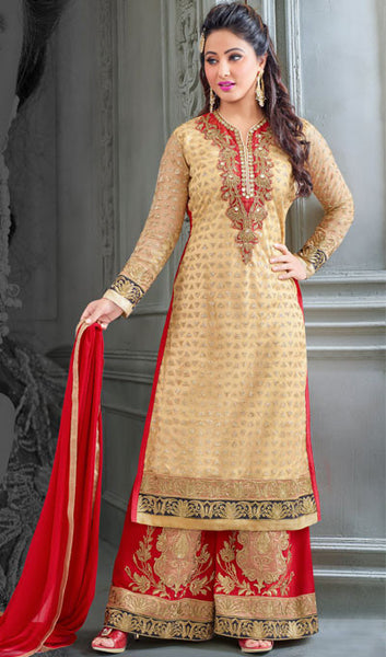 The Heena Khan Collection:atisundar beauteous Beige Designer Partywear Suits Featuring Heena Khan - 10134 - atisundar - 1 - click to zoom