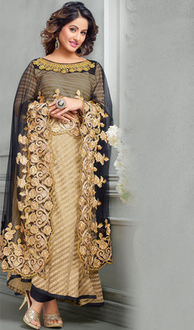 The Heena Khan Collection:atisundar Superb Beige Designer Partywear Suits Featuring Heena Khan - 10136 - atisundar - 1 - click to zoom