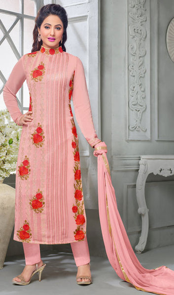 The Heena Khan Collection:atisundar beauteous Light Pink Designer Partywear Suits Featuring Heena Khan - 10137 - atisundar - 1 - click to zoom