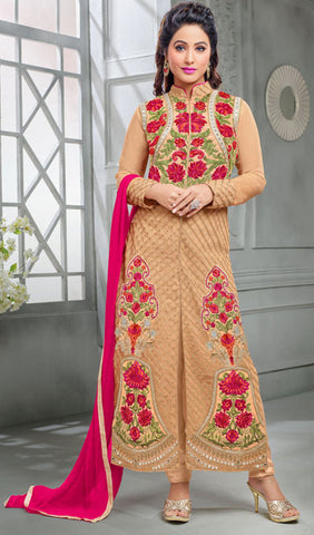 The Heena Khan Collection:atisundar elegant Beige Designer Partywear Suits Featuring Heena Khan - 10141 - atisundar - 1 - click to zoom