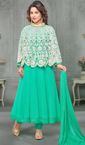 The Heena Khan Collection:atisundar refined Sea Green And White Designer Partywear Suits Featuring Heena Khan - 10142 - atisundar - 1 - click to zoom