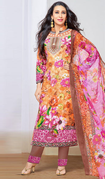 The Karishma Kapoor Collection:atisundar delicate Orange And Pink Pure Lawn Cotton Designer Suits Featuring Karishma Kapoor - 10165 - atisundar - 1 - click to zoom