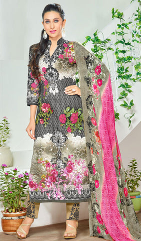 The Karishma Kapoor Collection:atisundar charming Black And Grey Pure Lawn Cotton Designer Suits Featuring Karishma Kapoor - 10166 - atisundar - 1 - click to zoom