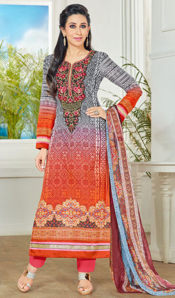 The Karishma Kapoor Collection:atisundar radiant Grey And Red Pure Lawn Cotton Designer Suits Featuring Karishma Kapoor - 10169 - atisundar - 1 - click to zoom