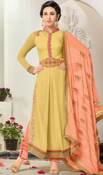 The Karishma Kapoor Collection:atisundar Superb Yellow Designer Suits With Embroidered Duppatta Featuring Karishma Kapoor - 10211 - atisundar - 1 - click to zoom