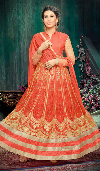 The Karishma Kapoor Collection:atisundar cute Orange Party wear anarkalis with embroidered sleeves featuring Karishma Kapoor - 10226 - atisundar - 1 - click to zoom