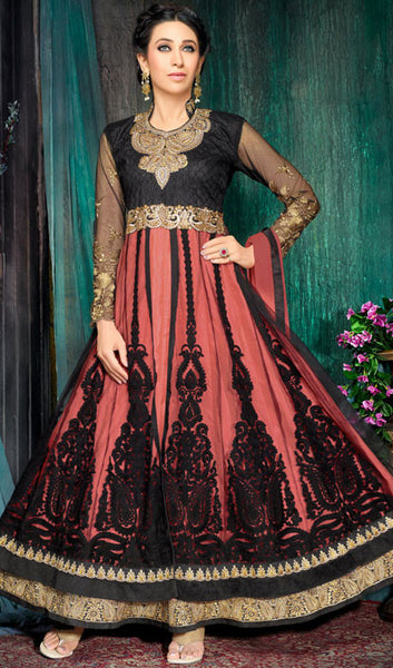 The Karishma Kapoor Collection:atisundar stunning Black And Peach Party wear anarkalis with embroidered sleeves featuring Karishma Kapoor - 10228 - atisundar - 1 - click to zoom