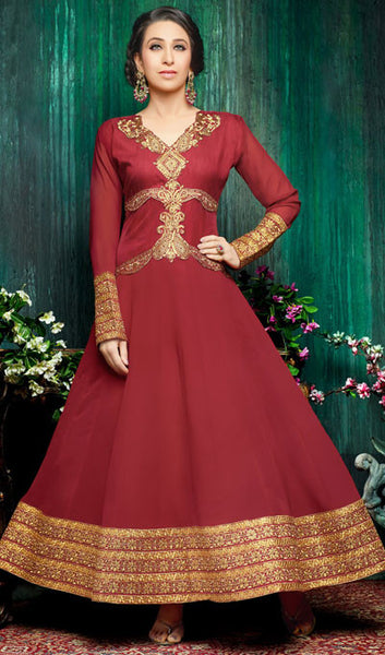 The Karishma Kapoor Collection:atisundar fair Maroon Party wear anarkalis with embroidered sleeves featuring Karishma Kapoor - 10230 - atisundar - 1 - click to zoom