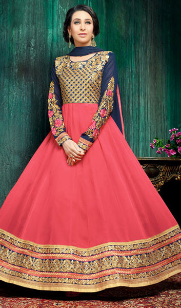 The Karishma Kapoor Collection:atisundar ravishing Blue And Peach Party wear anarkalis with embroidered sleeves featuring Karishma Kapoor - 10232 - atisundar - 1 - click to zoom