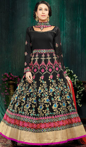 The Karishma Kapoor Collection:atisundar Beautiful Black Party wear anarkalis with embroidered sleeves featuring Karishma Kapoor - 10233 - atisundar - 1 - click to zoom