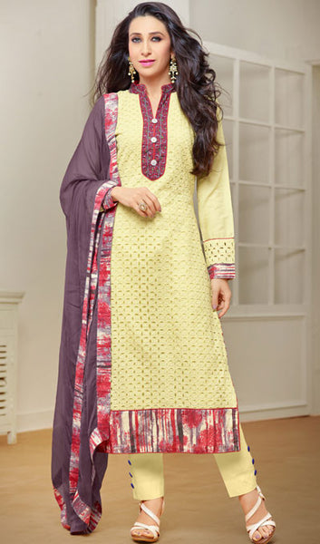 The Karishma Kapoor Collection:atisundar splendid Light Yellow Designer Straight Cut Suits With Front Schiffli Work And Printed Back Featuring Karishma Kapoor - 10405 - atisundar - 1 - click to zoom