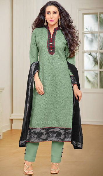 The Karishma Kapoor Collection:atisundar resplendent Green And Black Designer Straight Cut Suits With Front Schiffli Work And Printed Back Featuring Karishma Kapoor - 10406 - atisundar - 1 - click to zoom