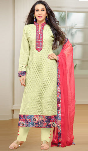 The Karishma Kapoor Collection:atisundar Awesome Pista Green Designer Straight Cut Suits With Front Schiffli Work And Printed Back Featuring Karishma Kapoor - 10407 - atisundar - 1 - click to zoom