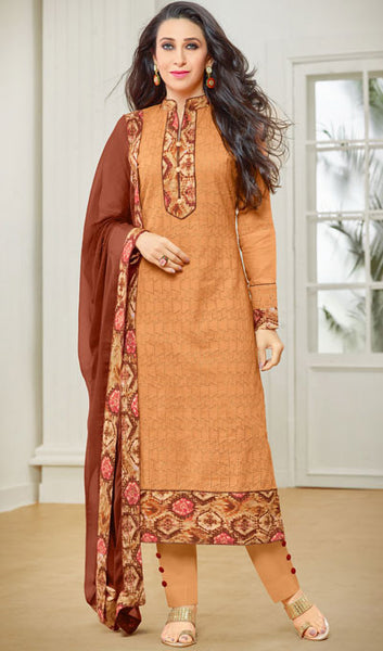 The Karishma Kapoor Collection:atisundar cute Orange Designer Straight Cut Suits With Front Schiffli Work And Printed Back Featuring Karishma Kapoor - 10408 - atisundar - 1 - click to zoom