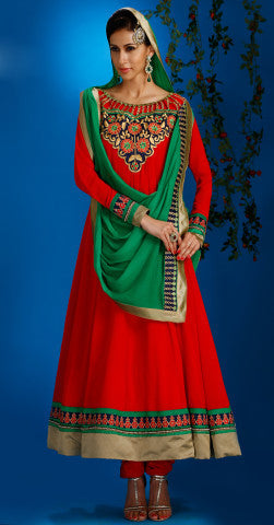 Designer Embroidered Partywear Anarkali:atisundar Smart Red Designer Embroidered Party Wear Ready to Stitch Anarkali - 6439 - atisundar - 1 - click to zoom