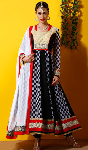 Designer Embroidered Party Wear Anarkali in Faux Georgette:atisundar beauteous Black And White Designer Embroidered Party Wear Ready to Stitch Anarkali - 6440 - atisundar - 1 - click to zoom