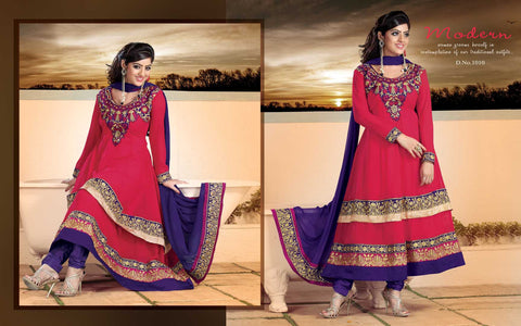 atisundar Parnika: Charismatic Unstitched Salwar Kameez In Red - 3449 - atisundar - 3 - click to zoom