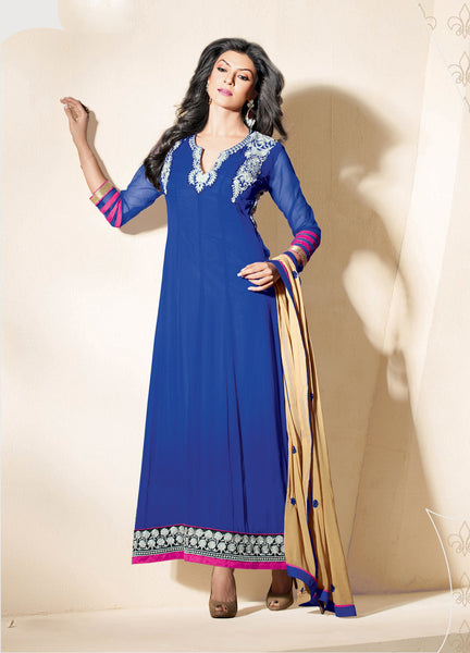 The Sushmita Sen Collection: atisundar Sia: Designer Embroidered Semi stitched Anarkali  - 4428 - atisundar - 3 - click to zoom