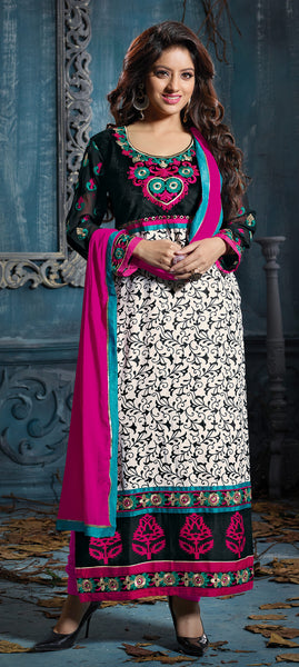 Designer Embroidered Straight Cut Suits:atisundar Charismatic Black And White Straight Cut Designer Wear - 6452 - atisundar - 3 - click to zoom