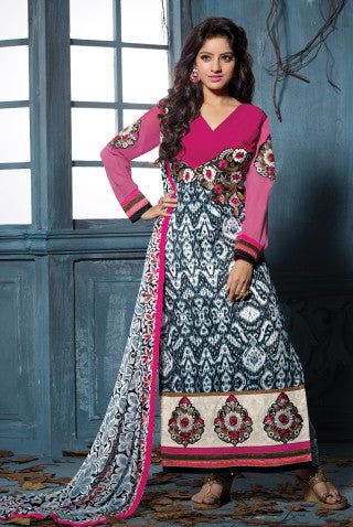Designer Embroidered Straight Cut Suits:atisundar charming Pink And Grey Straight Cut Designer Wear - 6453 - atisundar - 1 - click to zoom