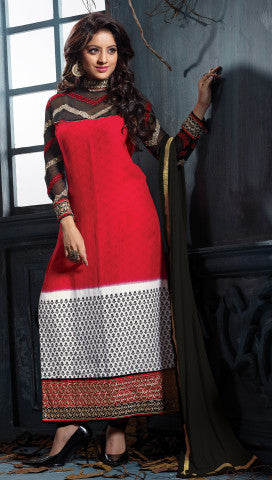 Designer Embroidered Straight Cut Suits:atisundar wonderful Red Straight Cut Designer Wear - 6454 - atisundar - 1 - click to zoom