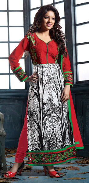 Designer Embroidered Straight Cut Suits:atisundar elegant Red And White Straight Cut Designer Wear - 6456 - atisundar - 3 - click to zoom