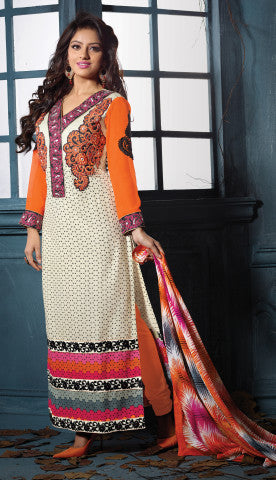 Designer Embroidered Straight Cut Suits:atisundar marvelous Orange And Off White Straight Cut Designer Wear - 6457 - atisundar - 1 - click to zoom