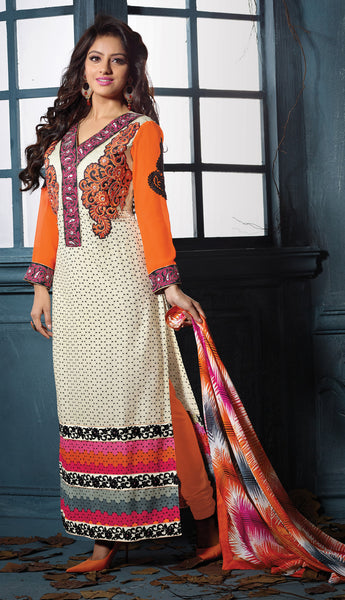 Designer Embroidered Straight Cut Suits:atisundar marvelous Orange And Off White Straight Cut Designer Wear - 6457 - atisundar - 3 - click to zoom