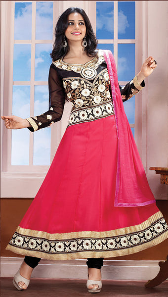 Party Wear Anarkalis:atisundar classy Peach And Black Designer Embroidered Anarkali - 5961 - click to zoom