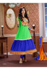 Party Wear Anarkalis:atisundar superb   in Parrot Green And Blue - 4803 - atisundar - 2 - click to zoom