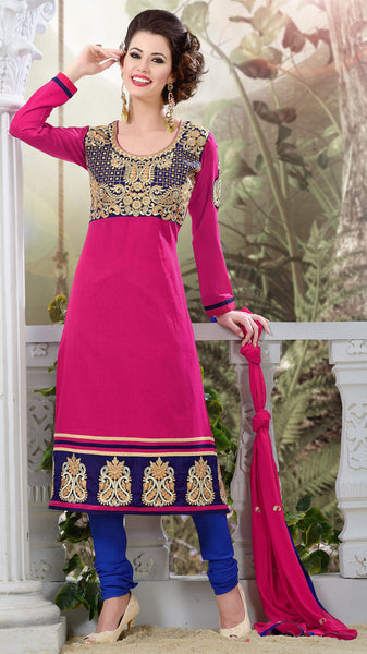 Designer Semi Stitched Stright cut Cotton Suits:atisundar Charismatic   in Pink - 5273 - atisundar - 3 - click to zoom