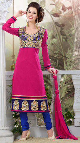 Designer Semi Stitched Stright cut Cotton Suits:atisundar Charismatic   in Pink - 5273 - atisundar - 1 - click to zoom