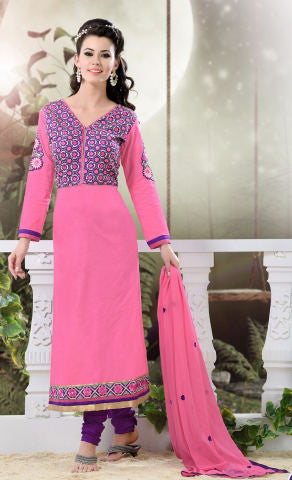 Designer Semi Stitched Stright cut Cotton Suits:atisundar graceful   in Pink - 5276 - atisundar - 1 - click to zoom