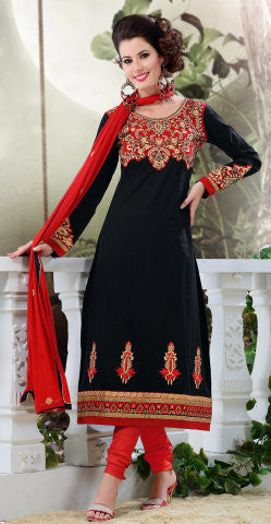 Designer Semi Stitched Stright cut Cotton Suits:atisundar splendid   in Black - 5277 - atisundar - 1 - click to zoom