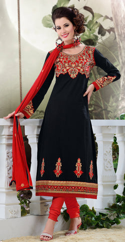 Designer Semi Stitched Stright cut Cotton Suits:atisundar splendid   in Black - 5277 - atisundar - 3 - click to zoom