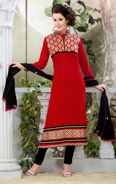 Designer Semi Stitched Stright cut Cotton Suits:atisundar appealing   in Dark Red - 5279 - atisundar - 3 - click to zoom