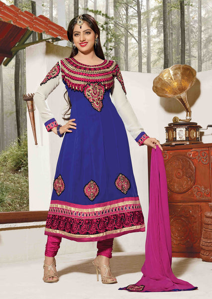 Resplendent Embroidered Anarkali Blue Unstitched Salwar Kameez By atisundar - 4142 - atisundar - 2 - click to zoom