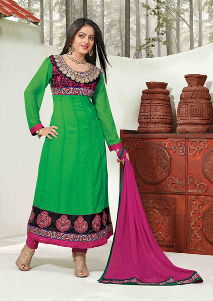 Pretty Embroidered Anarkali Green Unstitched Salwar Kameez By atisundar - 4143 - atisundar - 2 - click to zoom